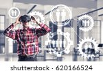 young man with virtual reality...   Shutterstock . vector #620166524
