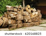 Stacked Logs For Firewood