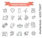 handmade icons  thin line  flat ... | Shutterstock .eps vector #620173637