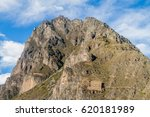 Small photo of Ruins of Pinkulluna (Inca storehouses) above village Ollantaytambo, Sacred Valley of Incas, Peru