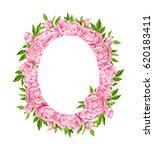 peony flowers wreath. tender... | Shutterstock . vector #620183411