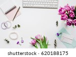 Woman Office Desk With Flowers...