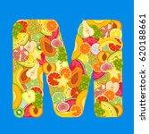 letter   m made of tropical... | Shutterstock .eps vector #620188661