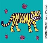 cute tiger cartoon roaring | Shutterstock .eps vector #620192861
