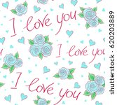 hearts  flower  and love text...   Shutterstock . vector #620203889
