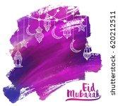 eid mubarak greeting card  ... | Shutterstock .eps vector #620212511