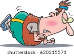 cartoon man trying to do a push ... | Shutterstock .eps vector #620215571