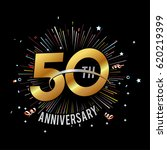 50th anniversary fireworks and... | Shutterstock .eps vector #620219399