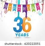 36 years birthday celebration...   Shutterstock . vector #620222051