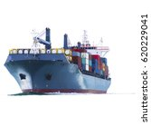 container cargo ship  on white... | Shutterstock . vector #620229041
