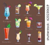set of alcoholic cocktails... | Shutterstock .eps vector #620230619