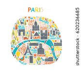 map of paris drawn by hand.... | Shutterstock .eps vector #620236685
