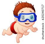 cartoon little boy diving | Shutterstock . vector #620240717