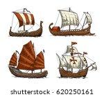 trireme  caravel  drakkar  junk.... | Shutterstock .eps vector #620250161