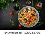 pasta in the shape heart salad...   Shutterstock . vector #620253701