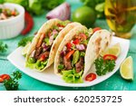 mexican tacos with beef in...   Shutterstock . vector #620253725