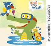 crocodile and bird is a friend  ... | Shutterstock .eps vector #620262719
