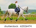 Girl On White Dressage Horse