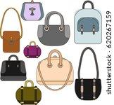 set of female handbags with