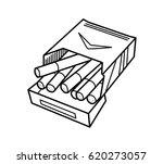 pack of cigarette doodle  a... | Shutterstock .eps vector #620273057