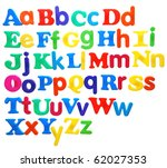 alphabet written in bright plastic letters, featuring both uppercase and lowercase, isolated on white - stock photo