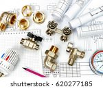 Small photo of Engineering heating. Concept Heating. Project of heating for house.