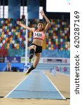 Small photo of ISTANBUL, TURKEY - JANUARY 29, 2017: Athlete Melek Zubeyde Sahinoglu long jumping during Turkish Athletic Federation Indoor Olympic Record Attempt Races
