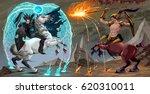 fighting scene between dark... | Shutterstock .eps vector #620310011