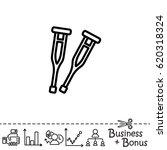 web line icon. crutches | Shutterstock .eps vector #620318324