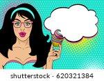 wow pop art female face. sexy... | Shutterstock .eps vector #620321384