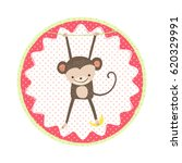 cute hanging monkey with banana.... | Shutterstock .eps vector #620329991