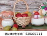 fresh milk pudding with mix... | Shutterstock . vector #620331311
