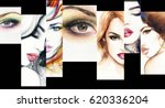 fashion collage. beautiful... | Shutterstock . vector #620336204