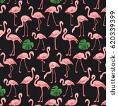 flamingo bird with monstera... | Shutterstock .eps vector #620339399