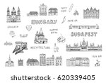 budapest hungary attraction set. | Shutterstock .eps vector #620339405