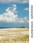 Small photo of Landscape with old lighthouse on Tendra island,Ukraine