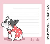Stock vector vector background paper note of cute bull dog on pink 620347529