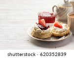 english tea with scones and... | Shutterstock . vector #620352839