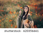 Medieval Princess In A Field O...