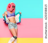 playful stylish girl dj....   Shutterstock . vector #620358815