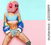 stylish girl dj. musical...   Shutterstock . vector #620358899