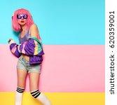 playful stylish girl dj. rave ... | Shutterstock . vector #620359001
