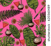 seamless pattern with tropical... | Shutterstock .eps vector #620360489