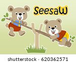 two bear playing seesaw vector... | Shutterstock .eps vector #620362571