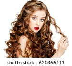 curly long hair woman beautiful ... | Shutterstock . vector #620366111