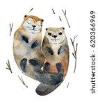 Illustration Cute Couple Otter...