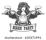 sexy girl ride a motorbike.... | Shutterstock .eps vector #620371991