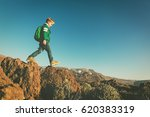 little boy with backpack hiking ... | Shutterstock . vector #620383319
