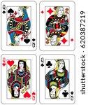 four queens figures inspired by ... | Shutterstock .eps vector #620387219