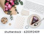 feminine workplace | Shutterstock . vector #620392409